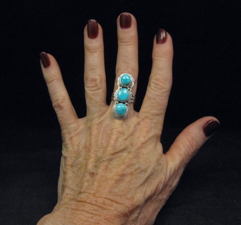 Image 2 of Native American Navajo 3-stone Turquoise Silver Ring, Sampson Jake, sz 6-3/4