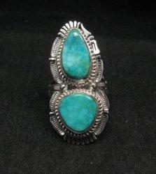 Native American Navajo Kingman Turquoise Silver Ring Bennie Ration sz8