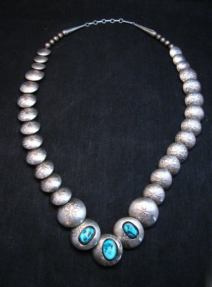 Image 0 of Vintage Navajo Native American Hollow Silver Disk Bead & Turquoise Necklace