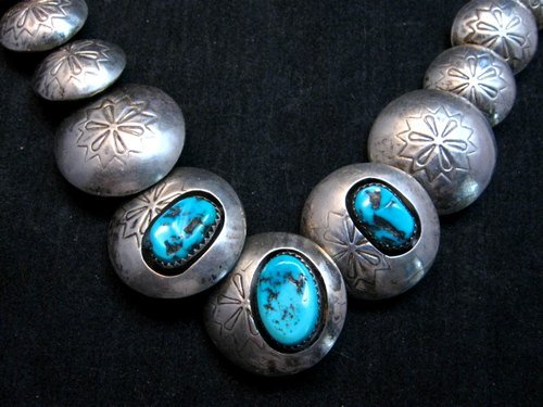 Image 1 of Vintage Navajo Native American Hollow Silver Disk Bead & Turquoise Necklace