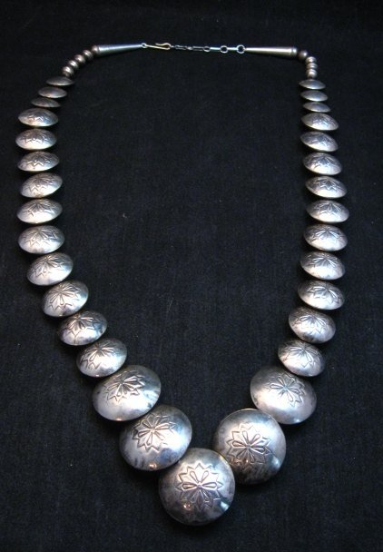 Image 6 of Vintage Navajo Native American Hollow Silver Disk Bead & Turquoise Necklace