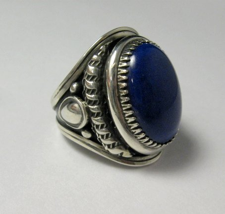 Image 2 of Native American Navajo Lapis Lazuli Sterling Ring Sz10-3/4 by Derrick Gordon