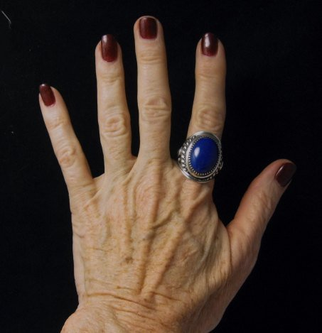 Image 4 of Native American Navajo Lapis Lazuli Sterling Ring Sz10-3/4 by Derrick Gordon