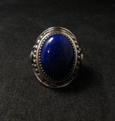 Image 5 of Native American Navajo Lapis Lazuli Sterling Ring Sz10-3/4 by Derrick Gordon