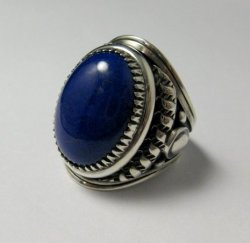 Native American Navajo Lapis Lazuli Sterling Ring Sz10-3/4 by Derrick Gordon