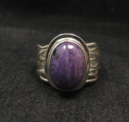 Image 0 of Navajo Native American Charoite Sterling Silver Wire Weave Ring sz7