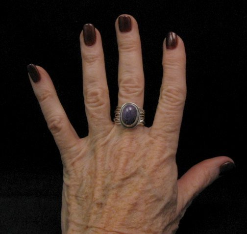 Image 3 of Navajo Native American Charoite Sterling Silver Wire Weave Ring sz7