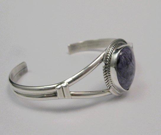 Image 2 of Larson Lee ~ Navajo Native American ~ Charoite Sterling Silver Bracelet