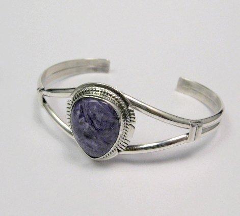 Image 1 of Larson Lee ~ Navajo Native American ~ Charoite Sterling Silver Bracelet