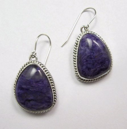Image 0 of Native American Navajo Purple Charoite Sterling Silver Dangle Earrings