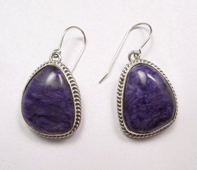Image 1 of Native American Navajo Purple Charoite Sterling Silver Dangle Earrings