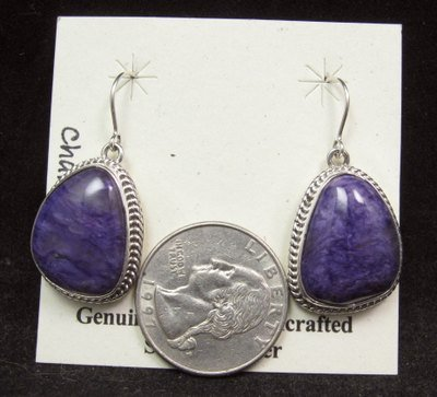 Image 2 of Native American Navajo Purple Charoite Sterling Silver Dangle Earrings