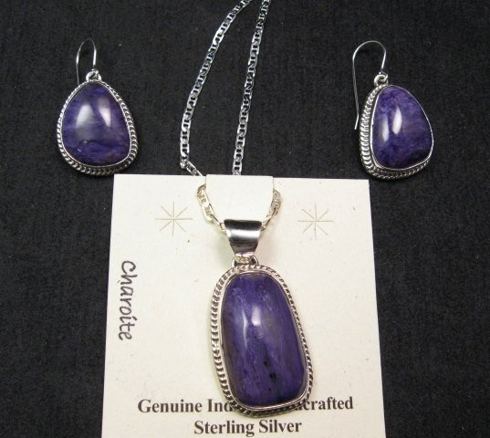 Image 3 of Native American Navajo Purple Charoite Sterling Silver Dangle Earrings