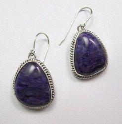 Native American Navajo Purple Charoite Sterling Silver Dangle Earrings