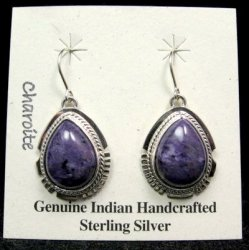 Native American Navajo Charoite Silver Dangle Earrings, Larson Lee