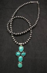 Native American Candelaria Turquoise Cross Pendant & Navajo Pearls Bead Necklace