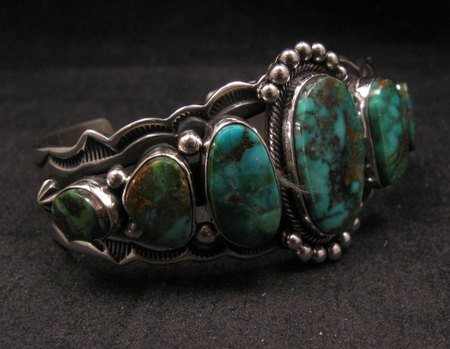 Image 1 of Navajo Native American Turquoise Silver Bracelet ~ Aaron Toadlena
