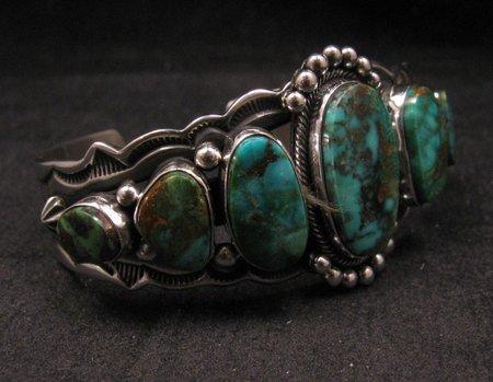 Image 1 of Navajo Native American Turquoise Silver Bracelet ~ Aaron Toadlena
