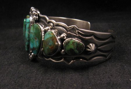 Image 2 of Navajo Native American Turquoise Silver Bracelet ~ Aaron Toadlena