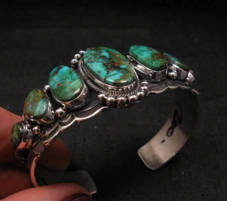 Image 3 of Navajo Native American Turquoise Silver Bracelet ~ Aaron Toadlena