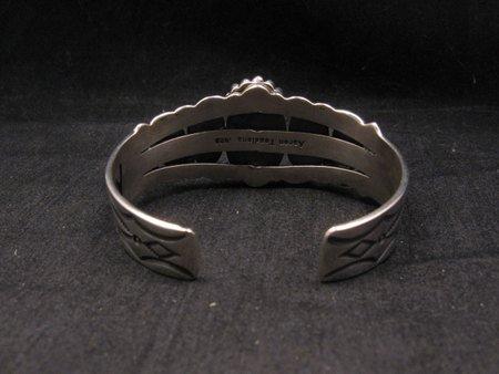 Image 4 of Navajo Native American Turquoise Silver Bracelet ~ Aaron Toadlena