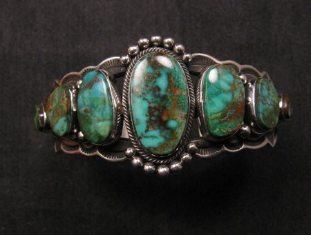 Image 5 of Navajo Native American Turquoise Silver Bracelet ~ Aaron Toadlena