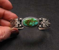 Andy Cadman Navajo Pawn Style Royston Turquoise Silver Thunderbird Bracelet