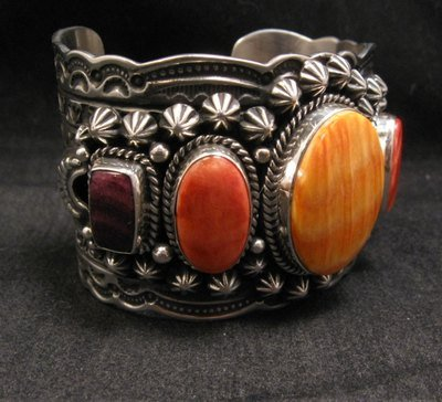 Image 1 of Darryl Becenti Navajo Native American Spiny Oyster Sterling Silver Bracelet