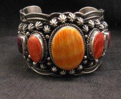 Darryl Becenti Navajo Native American Spiny Oyster Sterling Silver Bracelet