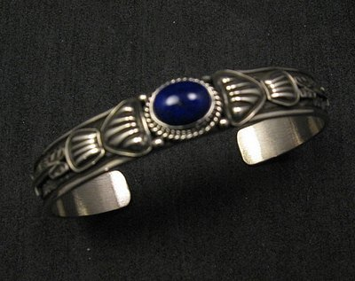Image 0 of Narrow Navajo Old Pawn Style Lapis Sterling Silver Bracelet, Tsosie White
