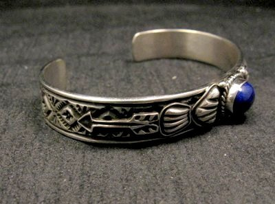 Image 1 of Narrow Navajo Old Pawn Style Lapis Sterling Silver Bracelet, Tsosie White