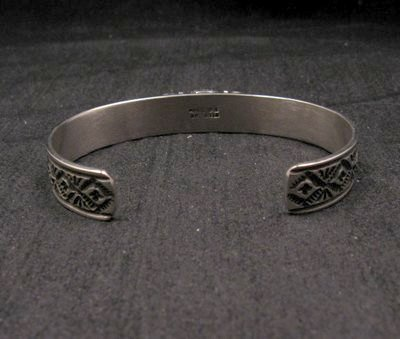 Image 2 of Narrow Navajo Old Pawn Style Lapis Sterling Silver Bracelet, Tsosie White