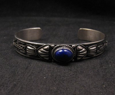 Image 3 of Narrow Navajo Old Pawn Style Lapis Sterling Silver Bracelet, Tsosie White