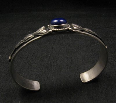 Image 4 of Narrow Navajo Old Pawn Style Lapis Sterling Silver Bracelet, Tsosie White