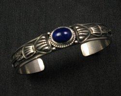 Narrow Navajo Old Pawn Style Lapis Sterling Silver Bracelet, Tsosie White