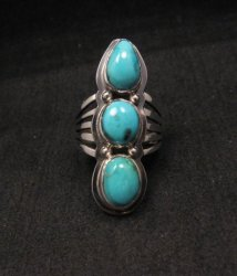Native American Navajo 3-stone Turquoise Silver Ring, sz 8-3/4