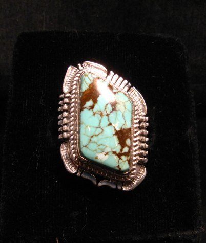 Image 0 of Navajo American Navajo #8 Turquoise Silver Ring by Bennie Ration sz8-3/4