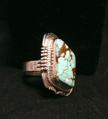 Image 2 of Navajo American Navajo #8 Turquoise Silver Ring by Bennie Ration sz8-3/4