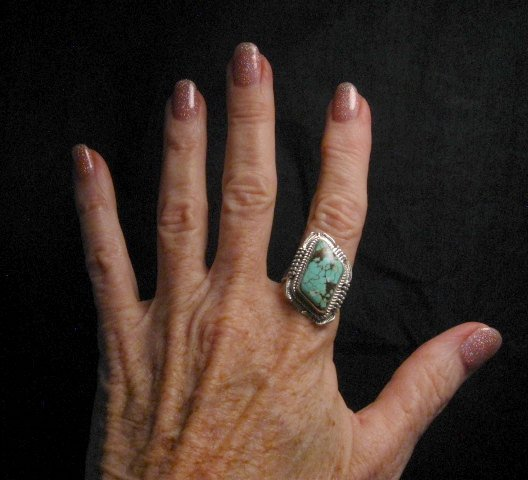 Image 3 of Navajo American Navajo #8 Turquoise Silver Ring by Bennie Ration sz8-3/4