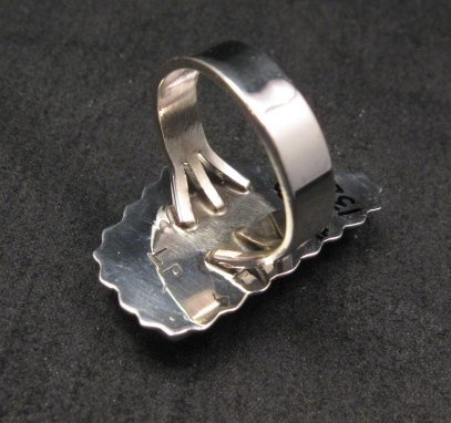 Image 4 of Native American Navajo #8 Turquoise Silver Ring by Lyle Piaso sz8