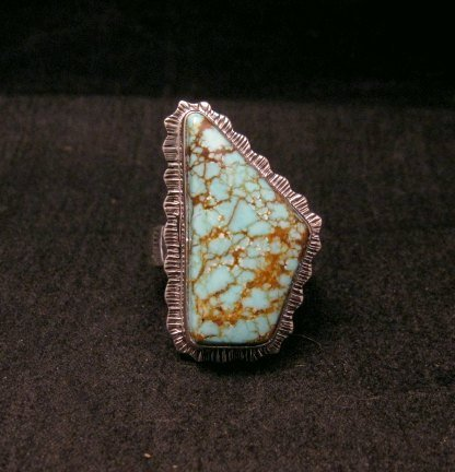Image 0 of Native American Navajo #8 Turquoise Silver Ring by Lyle Piaso sz8