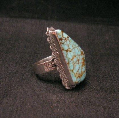 Image 1 of Native American Navajo #8 Turquoise Silver Ring by Lyle Piaso sz8