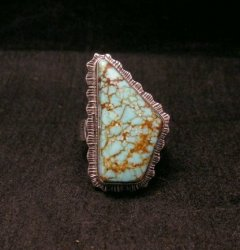 Native American Navajo #8 Turquoise Silver Ring by Lyle Piaso sz8