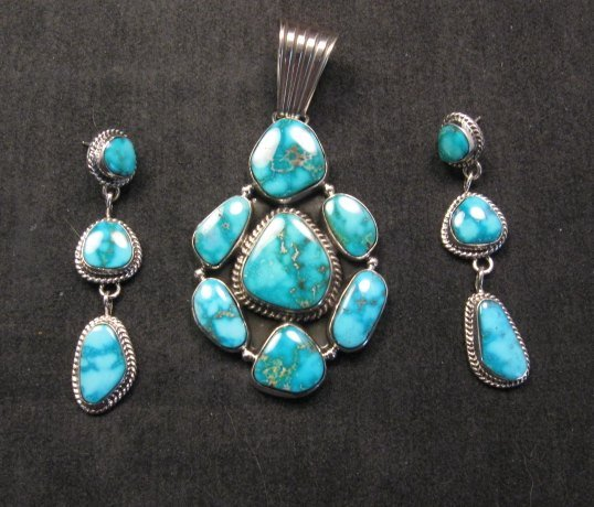 Image 2 of Native American Navajo Turquoise Cluster Pendant & Earrings Set, Geneva Apachito