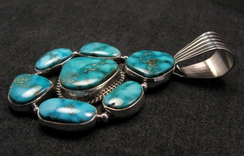 Image 4 of Native American Navajo Turquoise Cluster Pendant & Earrings Set, Geneva Apachito