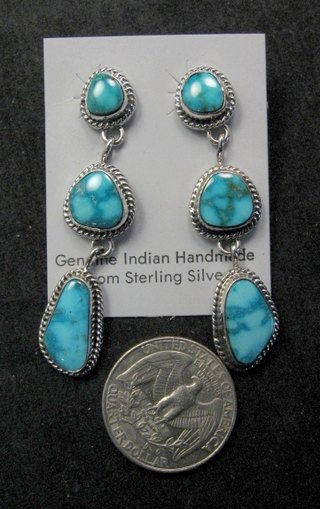 Image 5 of Native American Navajo Turquoise Cluster Pendant & Earrings Set, Geneva Apachito