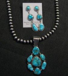 Native American Navajo Turquoise Cluster Pendant & Earrings Set, Geneva Apachito