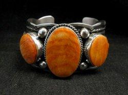 Navajo Native American Spiny Oyster Sterling Silver Bracelet, Guy Hoskie