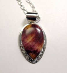 Big Native American Navajo Purple Spiny Oyster Pendant, Phillip Sanchez