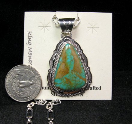 Image 1 of King Manassa Turquoise Sterling Silver Native American Pendant
